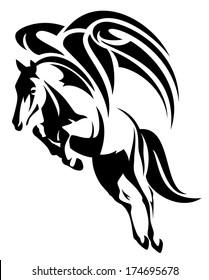 raster - winged horse design - black and white tribal style pegasus illustration