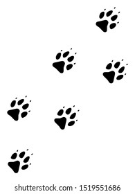 Raster wolf track flat icon. Raster pictograph style is a flat symbol wolf track icon on a white background.