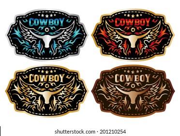 Rasterized Cowboy belt buckle vector design - collection set - longhorn and cowboy