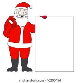 Rasterized versions. Cute Santa Claus with a list with free space for your text