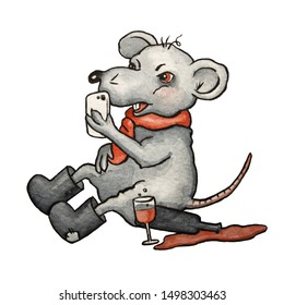 Rat Anatoly from Russian. He drinks alcohol, smokes, likes to eat Olivier salad and he is lonely, he is celebrating the New year 2020 alone. He wears felt boots.