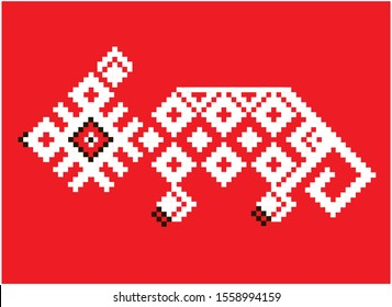 Rat or mouse-symbol for happy New year, ornament or cross stitch for Slavic peoples, Russia, Belarus, Estonia, Lithuania, Latvia, red
