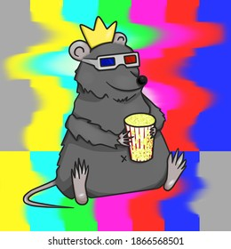 rat with popcorn in the cinema