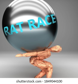 Rat race as a burden and weight on shoulders - symbolized by word Rat race on a steel ball to show negative aspect of Rat race, 3d illustration