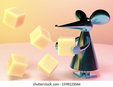 rat Snegurochka with slices of delicious cheese 3D