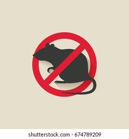 rat warning sign. illustration