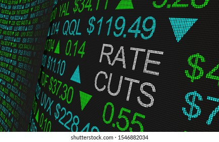 Rate Cuts Interest Borrow Money Impact Stock Market 3d Illustration