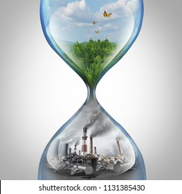 Rate of environmental damage and climate change urgency concept as a green natural habitat sinking into a pollution and toxic enviroment in a sand hourglass with 3D elements.