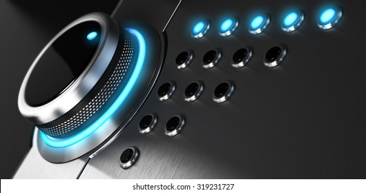 Rating button positioned on the highest position. Conceptual image for illustration of excellent customer service and client satisfaction.