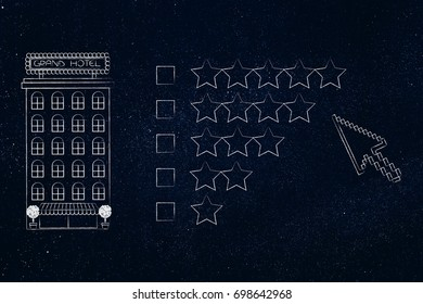 rating hotels or filtering a search: accomodatioon building next to different levels of stars