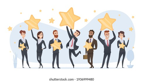 Rating stars. People holding in hands various stars of ratings and reviews business concept