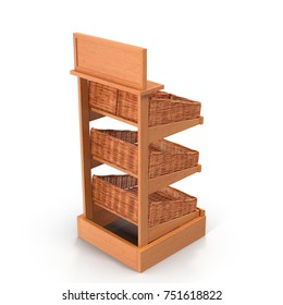 Rattan Bakery Display Shelves on white. 3D illustration