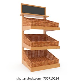 Rattan Bakery Display Shelves on white background. 3D illustration