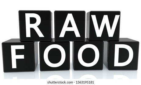 Raw food concept on cubes in black on white background.3d illustration