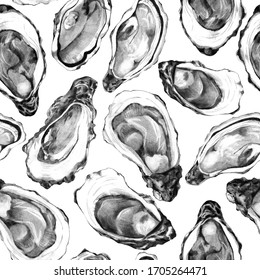 Raw shellfish background. Sketch of oyster shells on white. Seamless pattern of edible mollusc. Backdrop of seafood for restaurant menu, french recipes, flyer or invitation.