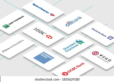 Rawang, Malaysia - October 18, 2020: Collection of multiple banking business cards. Illustrative editorial.