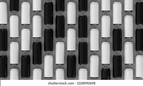 Raws of black and white soda cans on white background. Beverage mockup. Tin package of beer or drink. 3D rendering illustration