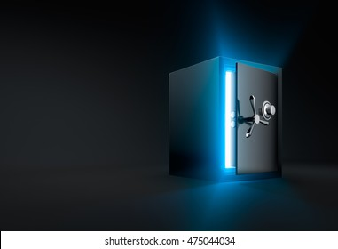 Ray of light shining through an opened safe box - 3D Rendering