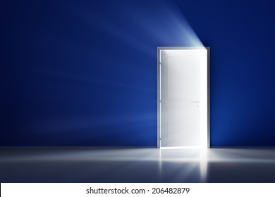 Rays of light through the open white door on blue wall