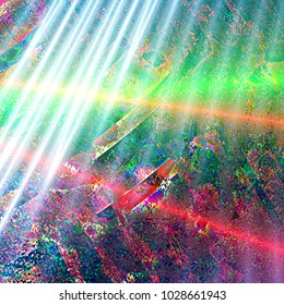 Rays of sun over chaotic fractal transformation with low resolution patterns and stripes