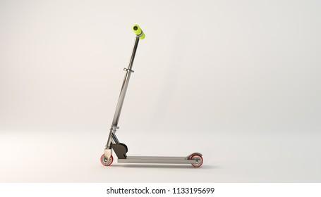 razor scooter isolated on white background 3d illustration