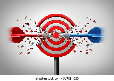 Reaching goals together business partner success concept as two different darts hitting the core of a common target as a winning strategy or right and left support metaphor as a 3D illustration.