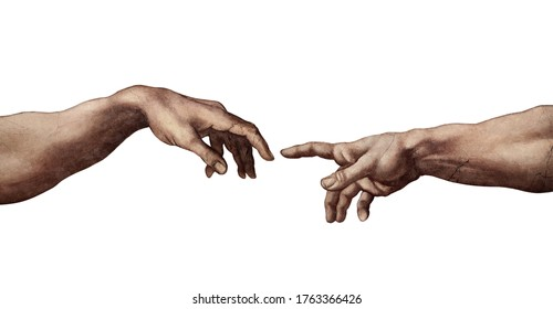 Reaching hands from The Creation of Adam of Michelangelo illustration reproduction isolated on white background.