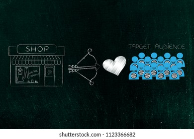 reaching the right customer conceptual illustration: shop building next to cupid bow and loveheart and target audience