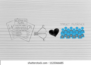 reaching the right customer conceptual illustration: business plan strategy next to cupid bow and loveheart and target audience