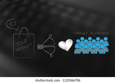 reaching the right customer conceptual illustration: Your Product shopping bag next to cupid bow and loveheart and target audience