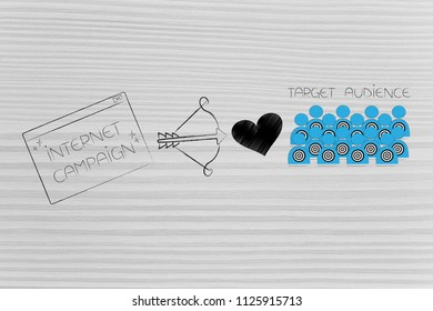 reaching the right customer conceptual illustration: Internet campaign pop-up next to cupid bow and loveheart and target audience
