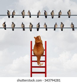 Reaching your goal concept and setting goals business metaphor as a cat climbing a ladder to reach a group of birds on a high wire as a motivation symbol for strategy and planning.
