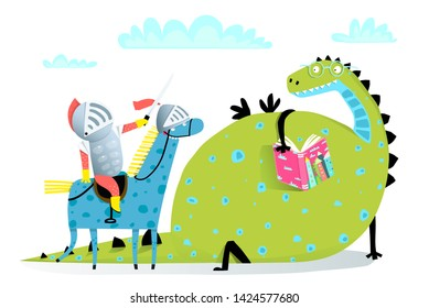 Reading Book Dragon and Knight on Horse Attack. Fairy tale funny dragon and knight fighting. Raster variant