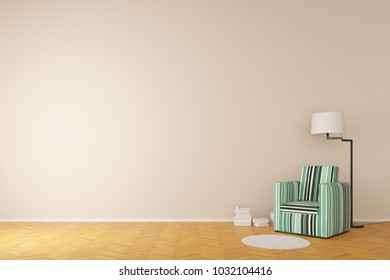 reading chair with books and reading lamp 3d rendering