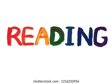 reading concept word gouache paint texture on white background