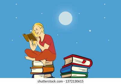 reading under moonlight