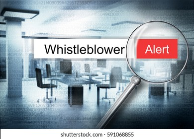 reading word whistleblower office magnifying glass 3d illustration