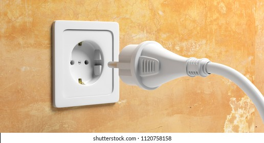 Ready to connect. White power plug and electric socket on yellow wall. 3d illustration