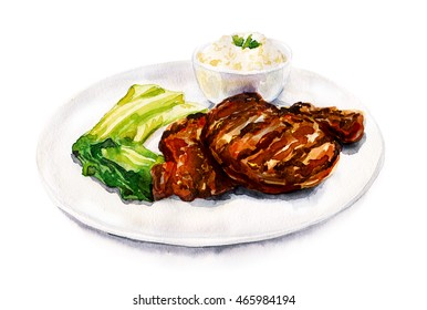 Ready meal watercolor
