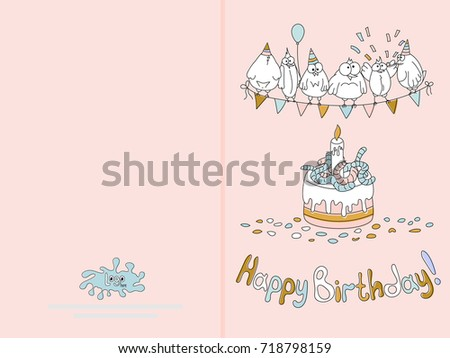 Ready For Print Happy Birthday Card Design With Funny Birds Illustration Delicate Pink