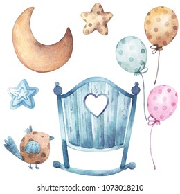Ready to use watercolor set with watercolor illustrations of baby cot, polka dot balloons, moon, stars and a bird