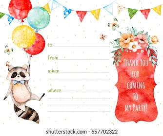 Ready-made beautiful invitation card with cute raccoon,garland,multicolored balloons,basket flowers.Just add your text.Watercolor postcard with beautiful bouquet and text.Perfect for baby shower party