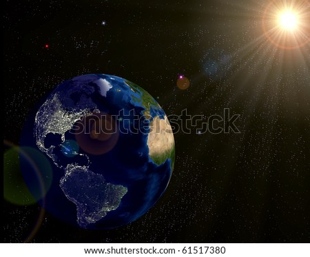 Real Earth Day Night Lights Map Stock Illustration 61517380 ...