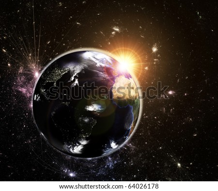 Real Earth Day Night Lights Map Stock Illustration 64026178 ...