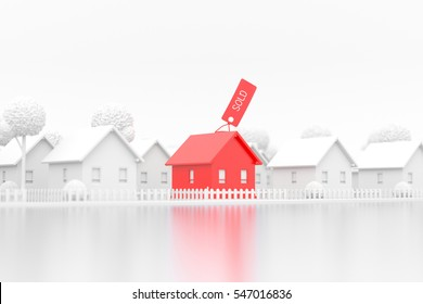 real estate, 3d render, sold, house sold stands out from other houses lined up on white background on reflected floor