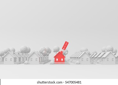 real estate, 3d render,house for sale stands out from other houses lined up on white background