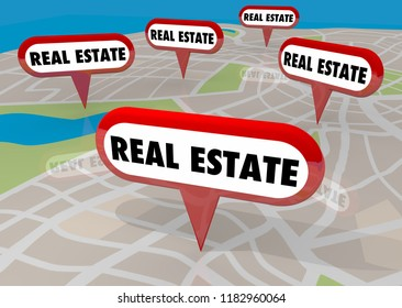 Real Estate Agent Agency Homes for Sale Listings Map Pins 3d Illustration