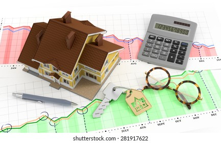 Real Estate Analytics. Composition on the subject of 'Real Estate Market'. 3D rendered image.