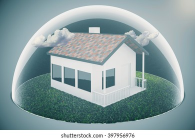 Real estate bubble and clouds on grey background. 3D Rendering