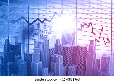 Real estate business growth graph. 3d illustrtation